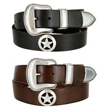 """The Marshall Star - Western Genuine Leather Jean Belt, 1-1/2"""" Wide"""