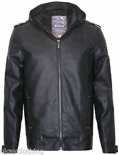 Mens Faux Leather hooded Full Zip Jacket New NTP1
