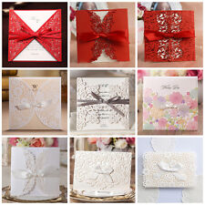 Laser Cut-out Wedding Invitation Cards With Bowknot and Envelopes, Seals