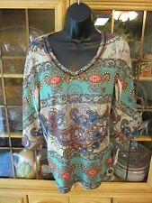 Live & Let Live 3/4 Slve Polyester Paisley Casual Multi-color Knit Top SR$20 NEW
