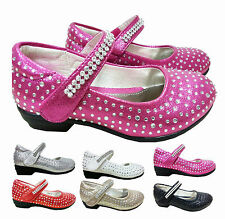 GIRLS KIDS CHILDRENS PARTY DRESS WEDDING VELCRO SHOES SIZE 7 TO 3