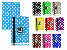 360° Rotate PU Premium Leather Polka Dot Case Cover For Apple iPad Mini 1,2&3 UK