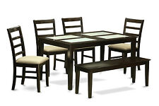 Capri 6 Pieces dining set with bench-Glass Top table and 4 chairs and Bench