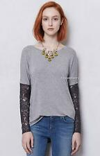NEW Anthropologie Bordeaux Lace-Sleeved Scoopneck  Size XS & L