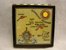 Vintage Makeup Compact Hawaiian Island Map Metal Loose Powder never used NICE