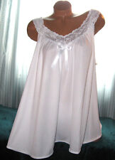 White 2 Piece Babydoll Nightgown & Panty 1X 2X 3X Short Gown Soft Silky