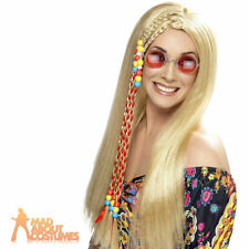 Ladies 1960s Hippy Wig Blonde Party Long with Beads Fancy Dress Accessory New