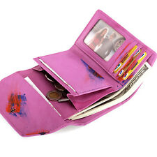 Lady Women Real Leather Weave Trifold Wallet Credit Card Holder Case Purse