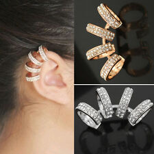 Fashion Womens Laides Charm Crystal Gold Silver Ear Cuff Clip On Earrings 1PC