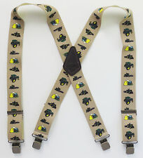 "Heavy Duty 2"" Suspenders, Tractor Images, 48"" or 54"" Fully Elastic, Strong Clips"