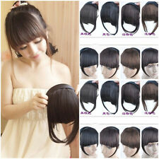 Womens Pretty Clip On Front Hair Neat Bang Straight Fringe Hair Extension Girls