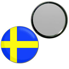 Sweden Flag - Round Compact Glass Mirror 55mm/77mm BadgeBeast