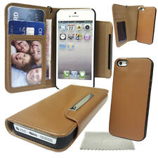 Brown Wallet case with Magnetic Detachable Hard Cover For Apple iPhone, 4, 5