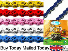 "KMC KOOL K710 COLOUR BMX CHAIN RED WHITE BLUE ETC FIXIE SINGLE SPEED 1/2"" x 1/8"""
