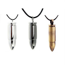 Hot Fashion Cool Mens Boys Alloy Army Bullet Pendant Necklace Leather Chain