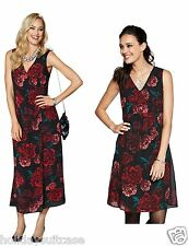 NEW LADIES WOMANS CHRISTMAS PARTY EVENING RED BLACK GEORGETTE DRESS SIZE 6-20 UK