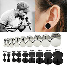 1Pair 2PCS Mens Barbell Punk Gothic Stainless Steel Ear Studs Earrings Unisex