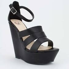 Womens Black Strappy Open-Toe Platform Sandal Wedge – Delicious Syrup-S