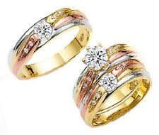 14k Tricolor Yellow Gold Round Cut CZ Ladies Wedding Engagement Ring Band