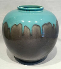 Rookwood Pottery 1951 Bulbous Glazed Gray and Aqua Blue Drip Vase 6204C