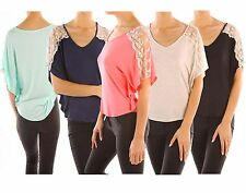 Solid Lace Detailed Shoulder Flyaway Dolman Sleeve Stretch Knit Top Shirt Rayon