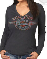 Harley-Davidson Ladies Faded Coin Toss Charcoal Grey Long Sleeve V-Neck T-Shirt