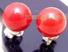 SALE Small 7-8mm Red Round High Quality Natural Coral Stud earring-ear413