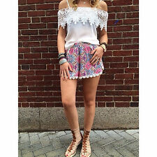 LF spring collection high wasited floral shorts with crochet hem NWT size AU6