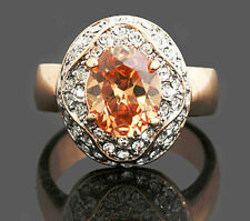 Rose Gold Plate Citrine Yellow Topaz Women Ring Made With Swarovski Crystal SR79