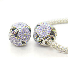 New Authentic Genuine S925 Silver DAISY SILVER CHARM WITH LAVENDER ENAMEL Bead