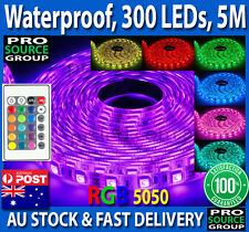Waterproof 5050 RGB 5M 300 LED SMD LEDS Strip Light 12V + IR Controller