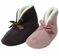 Womens Dunlop pixie boot slippers soft plush pink mauve bootie size small/large