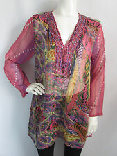 SANTE CLASSICS PINK BEADED SHEER WOMENS TOP BLOUSE SIZE M
