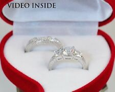 Jewelry  2Pieces Engagement Ring Set Wedding Ring Platinum Made in Italy