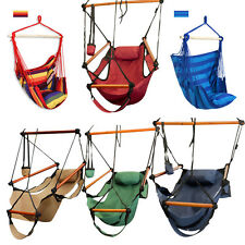 Outdoor Canvas Striped Hanging Hammock Rope Swing Seat Chair Porch Camping