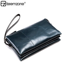 Men genuine soft Leather Business Wrist Wallet Clutch Handbag Checkbook Purse