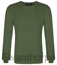 MENS BOSIDENG LONDON GREEN KNIT LONG SLEEVE RIBBED CREW NECK JUMPER