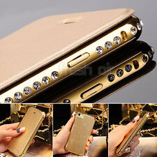 Diamond Shine Metal Bumper Flip PU Leather Case Cover For Apple iPhone 5 6 6Plus