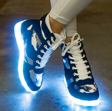 Mens/Womens LED Light Luminous High Top Skateboard 7 Color Lace Up Sneakers