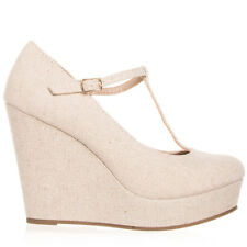 Womens Dark Beige Linen T-Strap Platform Wedge Soda Shoes Windy-S