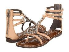 SAM EDELMAN SANDALS GLADIATOR WOMENS LEATHER RHINESTONE NATURAL NEW