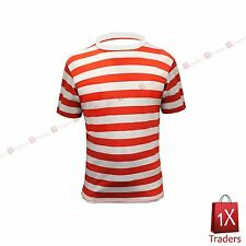 NEW KIDS RED AND WHITE STRIPED T SHIRT LIKE WHERES WALLY TOP KIDS FANCY DRESS