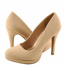 Women's Shoes Qupid Waltz 01 Classic Round Toe Pump Nude Nubuck *New*
