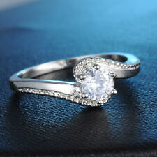 Size 7/8 Jewelry White Sapphire 18K White Gold Plated Engagement Ring New Women