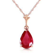 Genuine Red Ruby Pear Cut  Gemstone Solitaire Pendant Necklace in 14K Solid Gold