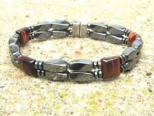 Men's Women's Magnetic Bracelet Anklet SUPER STRONG Clasp RED TIGER EYE 2 row