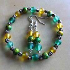 Green And Yellow Stretch Bracelet And Earrings Gift Set Silver Plated Handmade