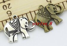 15/80pcs Antique Silver/Bronze Lovely Elephant Alloy Charms Pendant 25x21mm