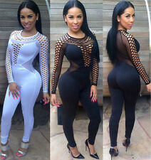 Womens Ladies Sexy Mesh Long Sleeve Bodycon Jumpsuit Romper Trousers Clubwear
