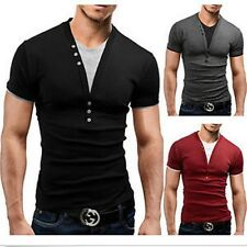 Mens Tee Modern Slim Fit Short Sleeve Sport Shirts Solid V Neck Casual T-Shirt